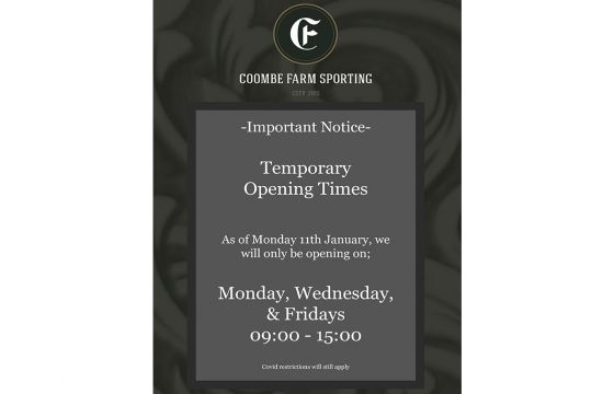 Temporary Opening Times
