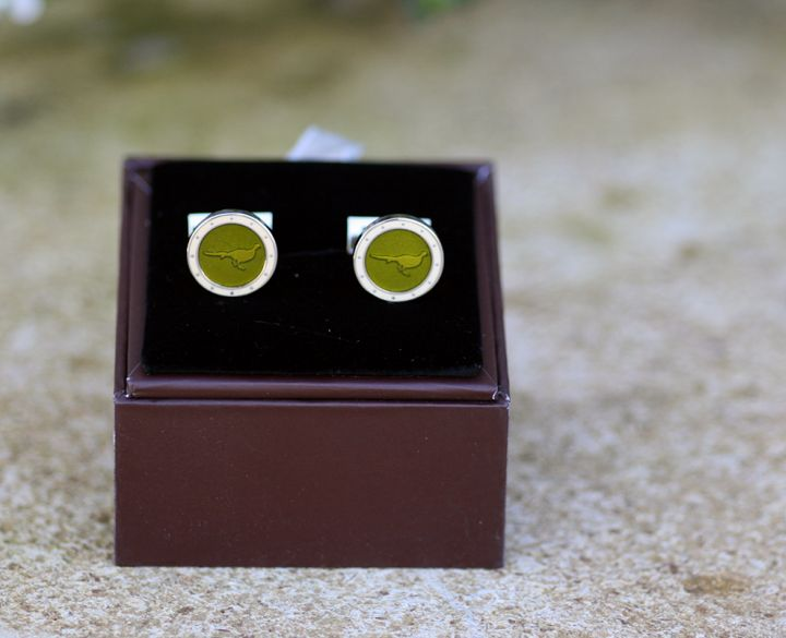Cufflinks- Pheasants With Border, Moss