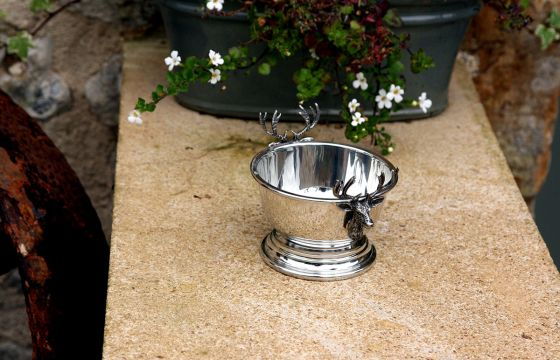 English Pewter Stag Nut Bowl