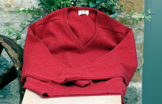 William Lockie Lambswool Jumper Poppy Melange